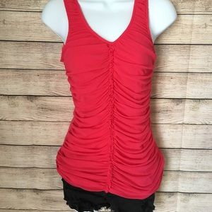 Hot pink ruched Express tank